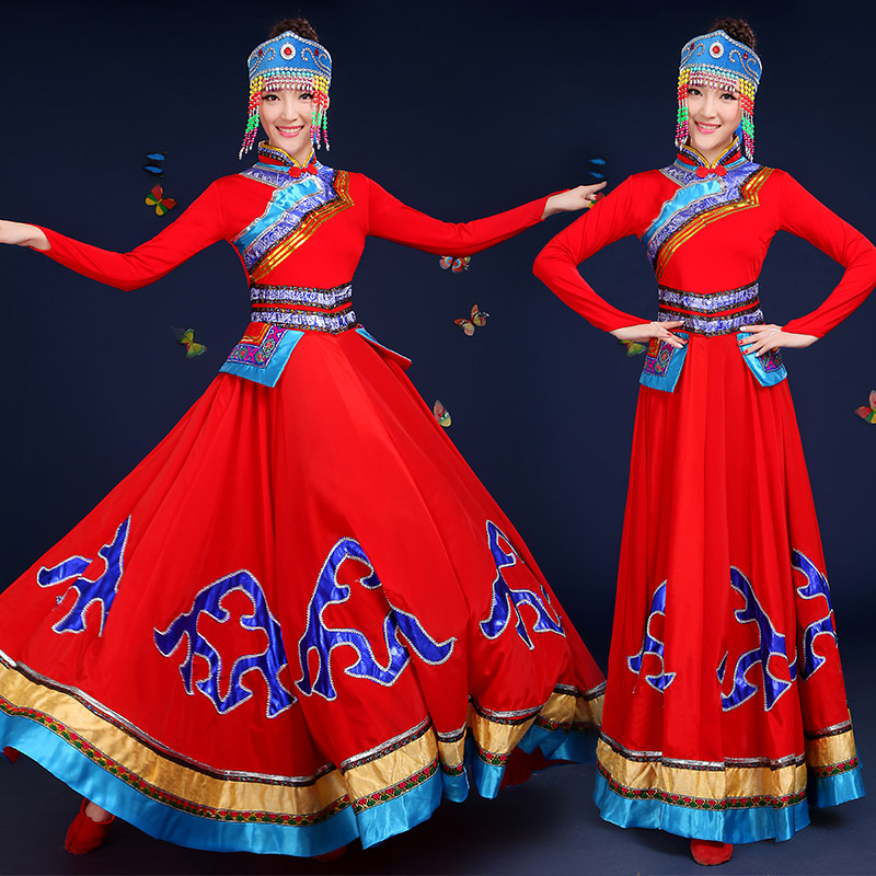 New Mongolia clothing women stage costumes for singers national festival performance clothing Chinese folk dance costume spring new female ballet dance dresstutu child adult costumes performance clothing trade of the original single
