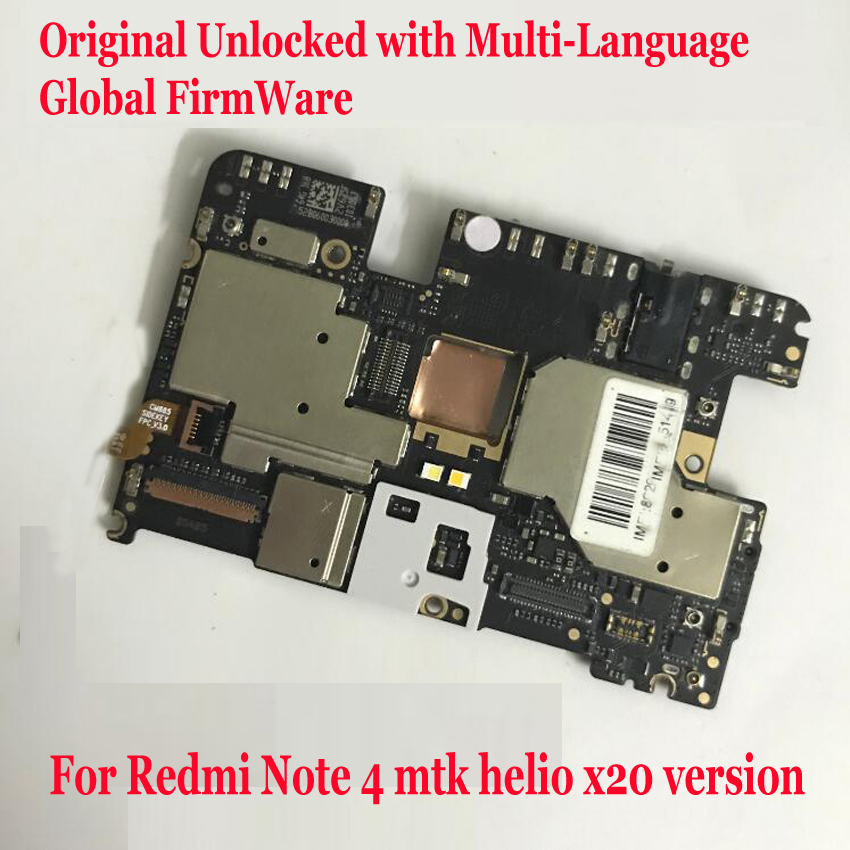 Carte mère de déverrouillage multilingue originale pour Xiaomi Redmi Note4 Note 4 carte mère globale à microprogramme avec carte mère