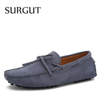 SURGUT Brand New Fashion Summer Spring Men Driving Shoes Loafers Real Leather Boat Shoes Breathable Male Casual Flats Loafers