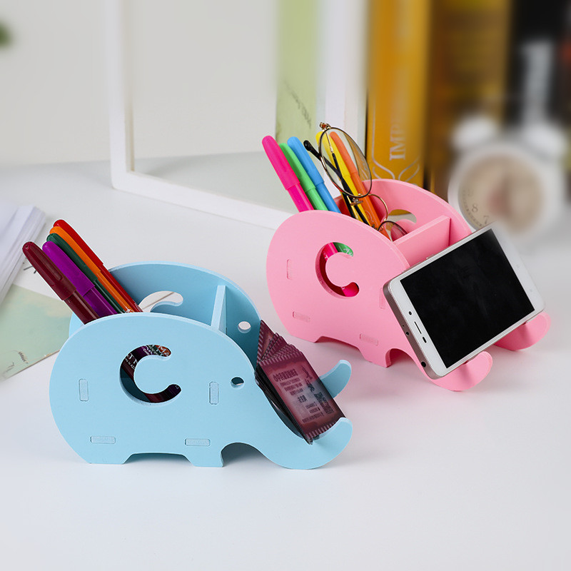 Kawaii Elephant Desk Pen Holder Organizer Pencil Case Stand For Pens Office Accessories Also For Mobile Phone Pencil Holder