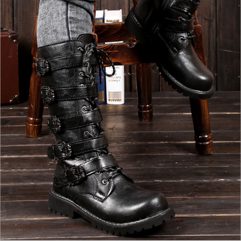 Army Boots Men High Military Combat Boots Metal Buckle Punk Mid Calf Male Motorcycle Boots Lace Up Men's Shoes Rock HH-130 mens winter boots warm military mid calf durable army 2017 fashion combat motorcycle high top shoes lace up autumn black male