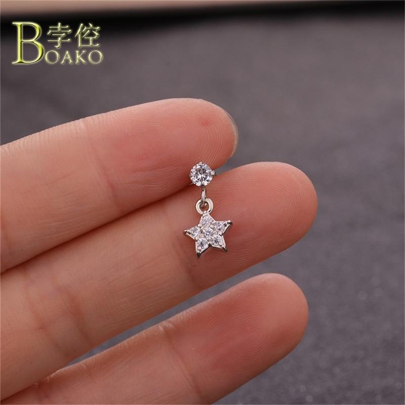 BOAKO Star Cross Piercing Earrings Rhinestone Zircon Stone Body Jewelry Girl Gold Silver Small Lip Nose Pircing Ear Studs B5 in Body Jewelry from Jewelry Accessories