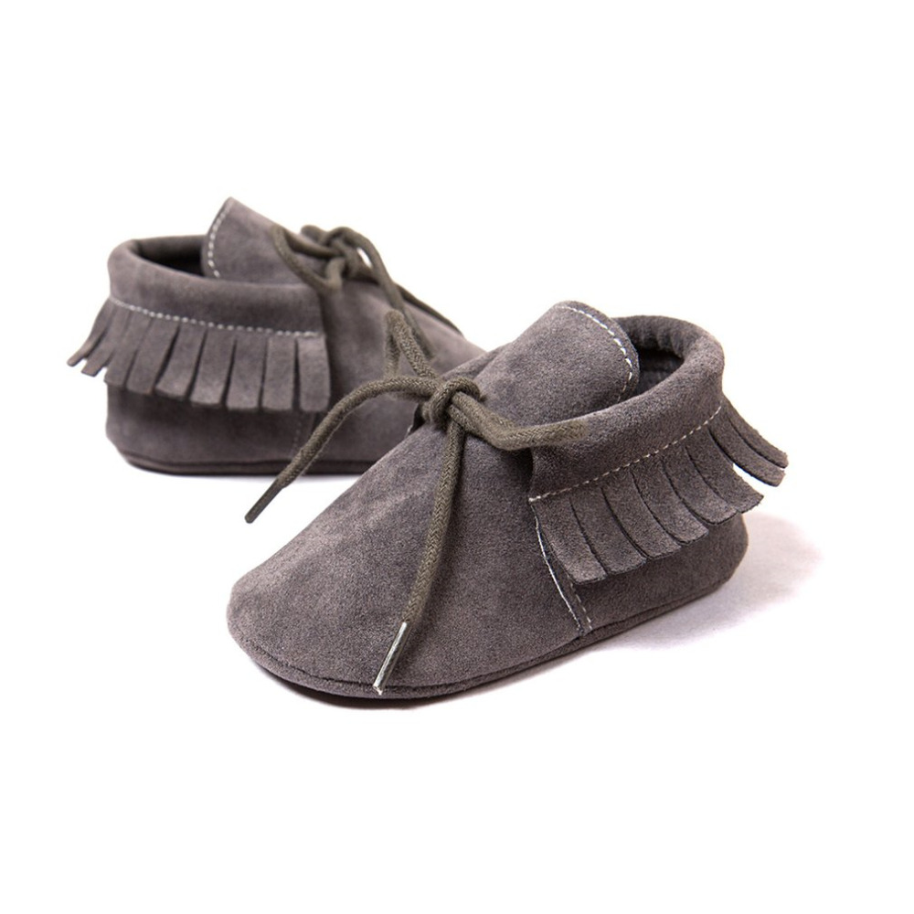 Fashion PU Suede Leather Prewalkers Newborn Boy Girl Baby Moccasins Soft Tassel Flat Shoes Bebe Fringe Soled Non-slip Crib Shoes
