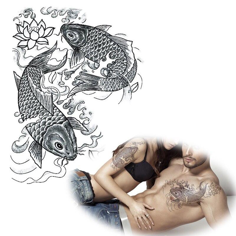 24x34 cm nero bianco carpa koi disegni del tatuaggio for Carpa koi prezzo