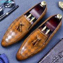 QYFCIOUFU 2019 Pointed Toe Men Oxford Shoe Genuine Cow Leather Slip On Formal Shoes Black Khaki Fashion Tassel Mens Dress