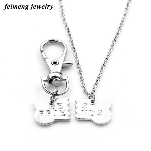 2017 new arrive friendship necklaces dog bone shape letter best friend alloy friendship pendant necklaces for