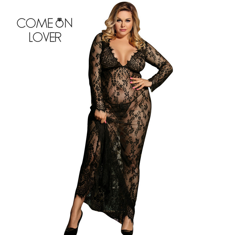 Comeonlover Sexy Dress Erotic Sexi Lingerie Porno White Long Sleeve Transparent Lingerie Plus Size Lace Sleepwear Gown RI80497 1