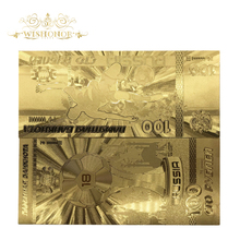 цена на 10pcs/lot Wholesale Price Russia Banknotes World Cup 100 Roubles Gold Banknotes in 24k Gold Replica Fake Money For Collection