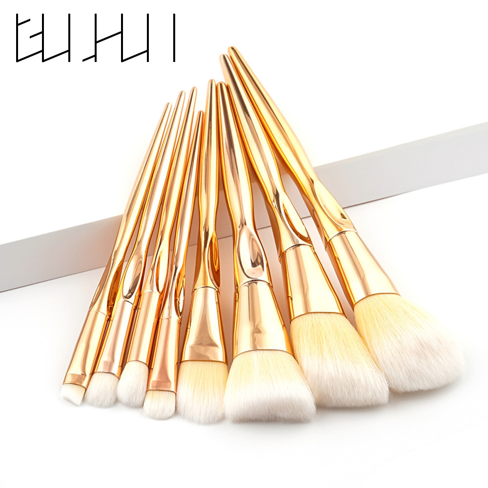 New 8pcs Makeup Brushes Set Powder Foundation Eyeshadow Eyeliner Brushes Professional Rose Gold Contour Blend Cosmetics Brushes vander 8pcs professional rose pink
