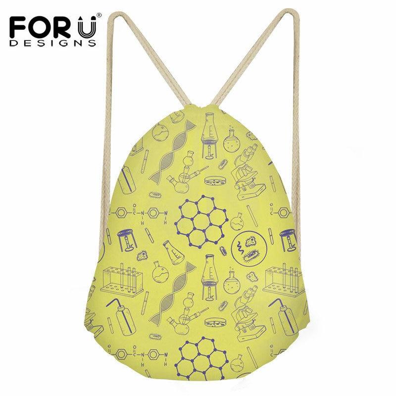 FORUDESIGNS Waterproof Casual Drawstring Bag Science Teacher Pattern String Backpack For Kids School Fashion Cinch Sack Female