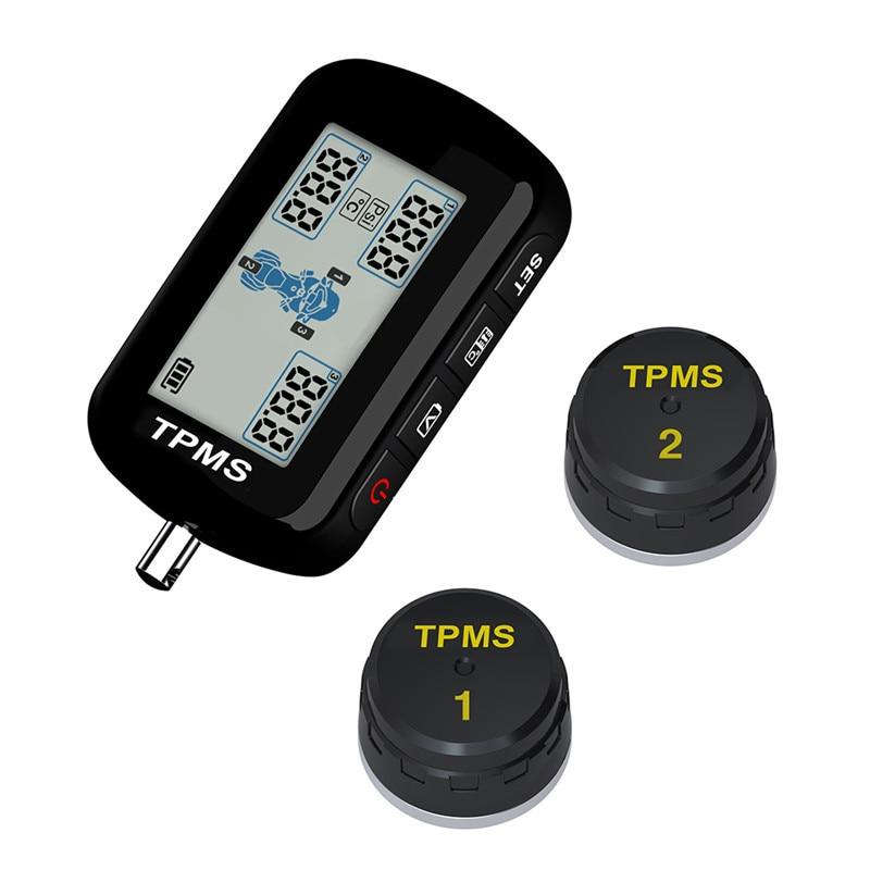 M10E TPMS Motorcycle Tire Pressure Monitor System Waterproof 2 External Sensor Wireless LCD Display Motorcycle Tools