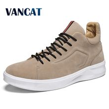 VANCAT Brand High Quality Men Shoes Casual Shoes Solid Lace-up Retro Breathable Shoes Pig Suede Flats Shoes Mens sneakers