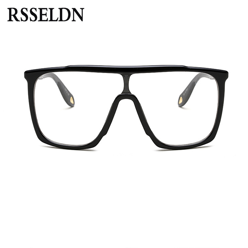 Rsseldn moda oversized Gafas cuadrado negro lente transparente ...