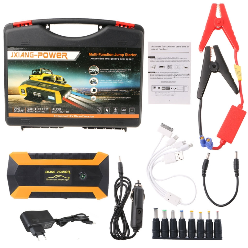 OOTDTY 69900mAh/89800mAh 4 USB Portable Car Jump Starter Pack Booster Charger Battery Power Bank 600A ootdty 69900mah 89800mah 4 usb portable car jump starter pack booster charger battery power bank 600a