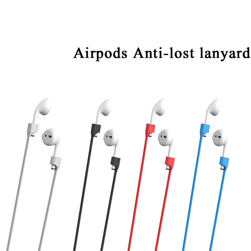 AirPods Anti-lost lanyard,Soft Silicone Anti-lost Connector for iPhone 7/ iPhone 7 Plus Apple Airpods - White/black/red/blue