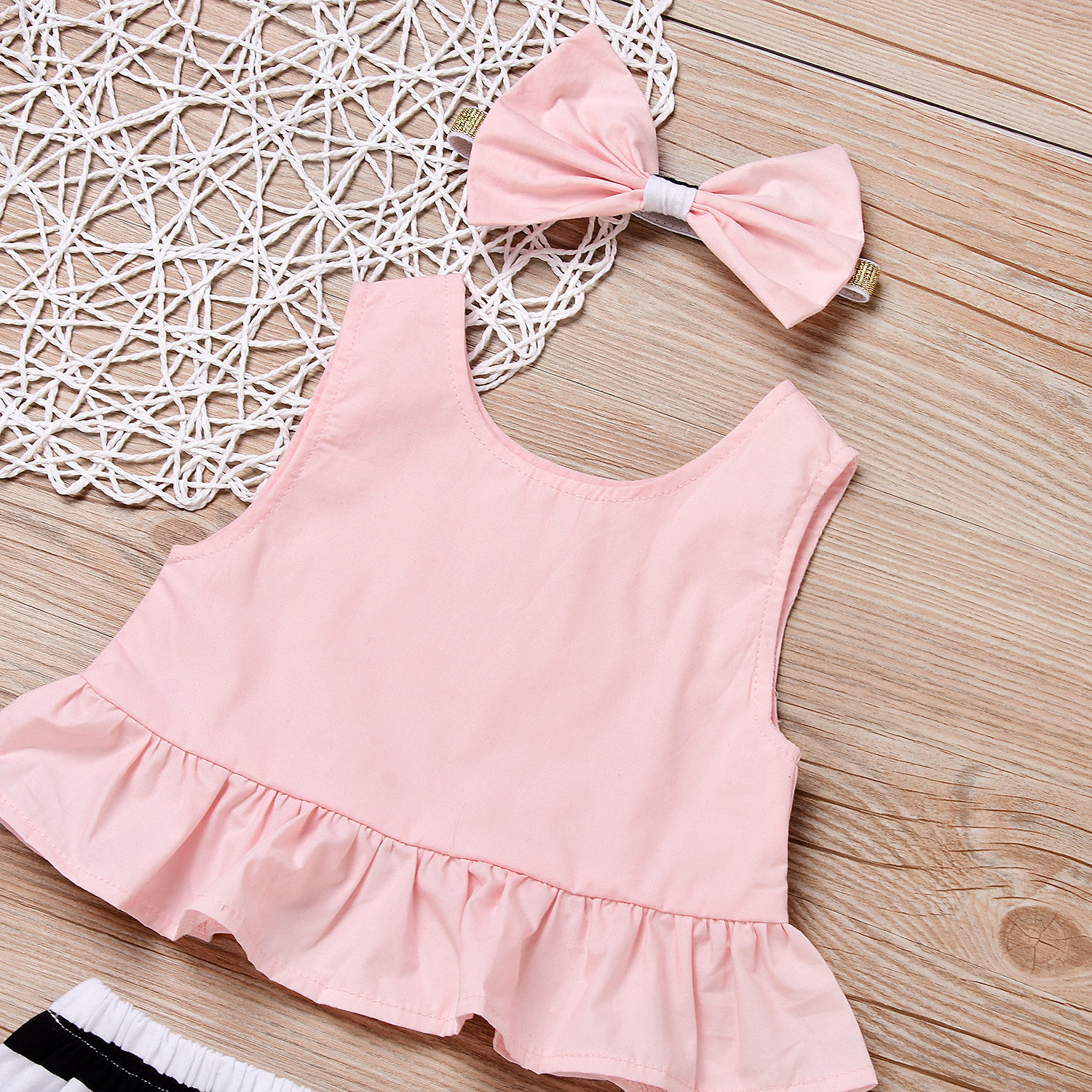 Summer Cute Baby Girls Clothes Set Pink Lovely Headband Tops Striped