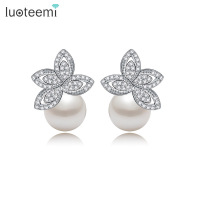 Teemi Whoesale Free Shipping Hot Sale Women Luxury Clear Cubic Zircon Paved Pearl Earrings For Brides