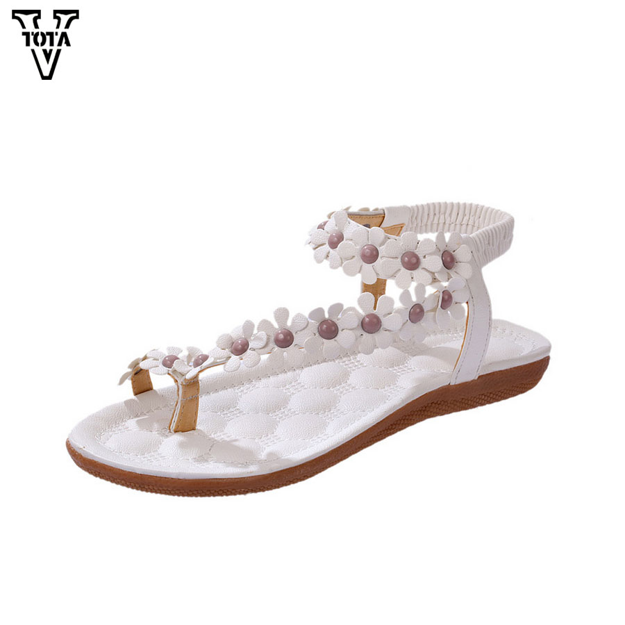 цена VTOTA Women Sandals Soft Leather Summer Shoes Woman Comfortable Ladies Bohemia Women's Shoes Flower Zapatos Mujer Flat Shoes 426 онлайн в 2017 году