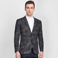 high quality 2018 winter men slim full sleeve 60% wool grey camo fashion blazers back slit casual wedding party man coat