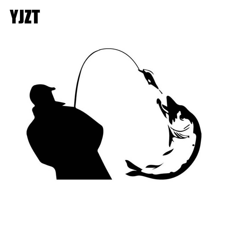 YJZT 13.6cm*10.2cm Happy Fisherman Catch Vinyl Car-styling Car Sticker Decals Black Silver C11-0209
