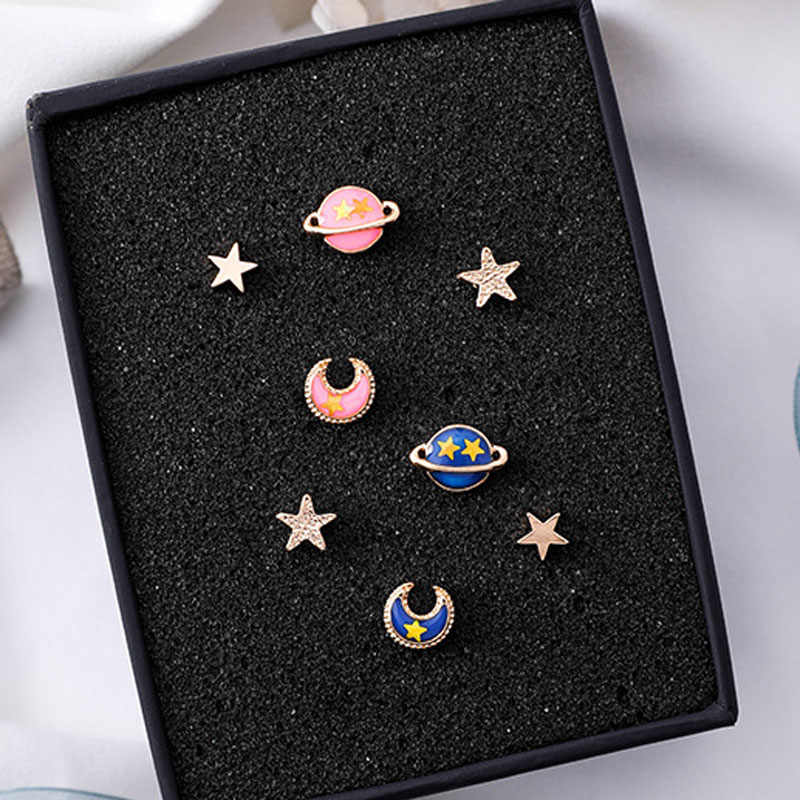 4pcs/lot Blue Pink Universe Planet Moon Star Mini Stud Earrings Fashion Lovely Cute Earring For Women Girl Japanese Jewelry Gift