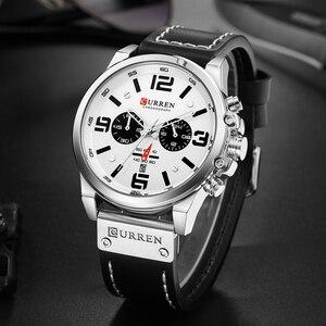 Image 5 - Curren relógio de pulso quartzo masculino, com pulseira de couro com data estiloso casual formal para homens 8314