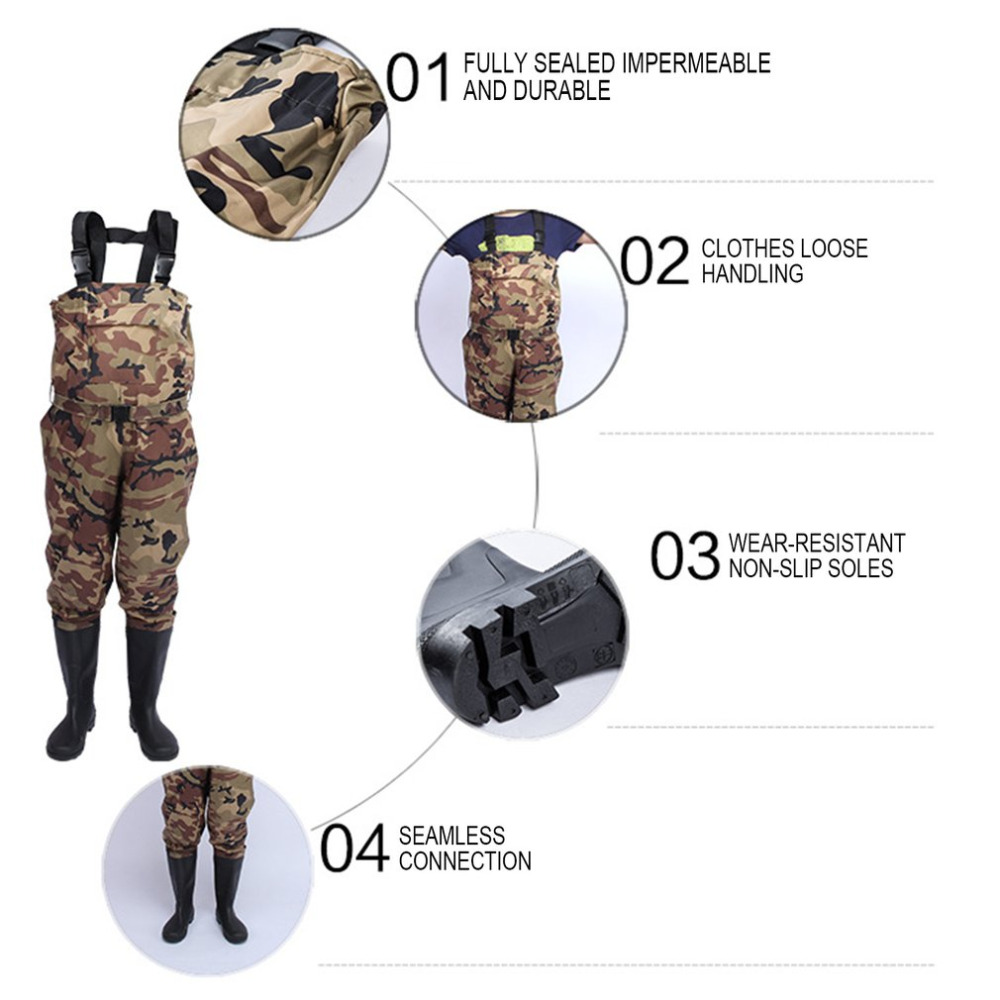 Camouflage Thicker Waterproof Fishing <font><b>Boots</b></font> Pants Breathable Chest Wading Farming Overalls for Outdoor Fishing tool accessory