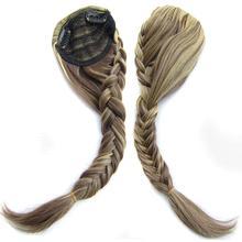 Delice женский синтетический рыбий хвост плетеная накладная челка спереди прямые косички пристегиваемая челка в заколка для волос