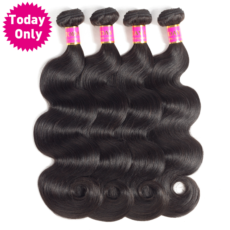 [TODAY ONLY] Peruvian Body Wave 4 Bundles 100% Human Hair Weave Bundles Natural Black Color No shedding Non Remy Hair Extensions