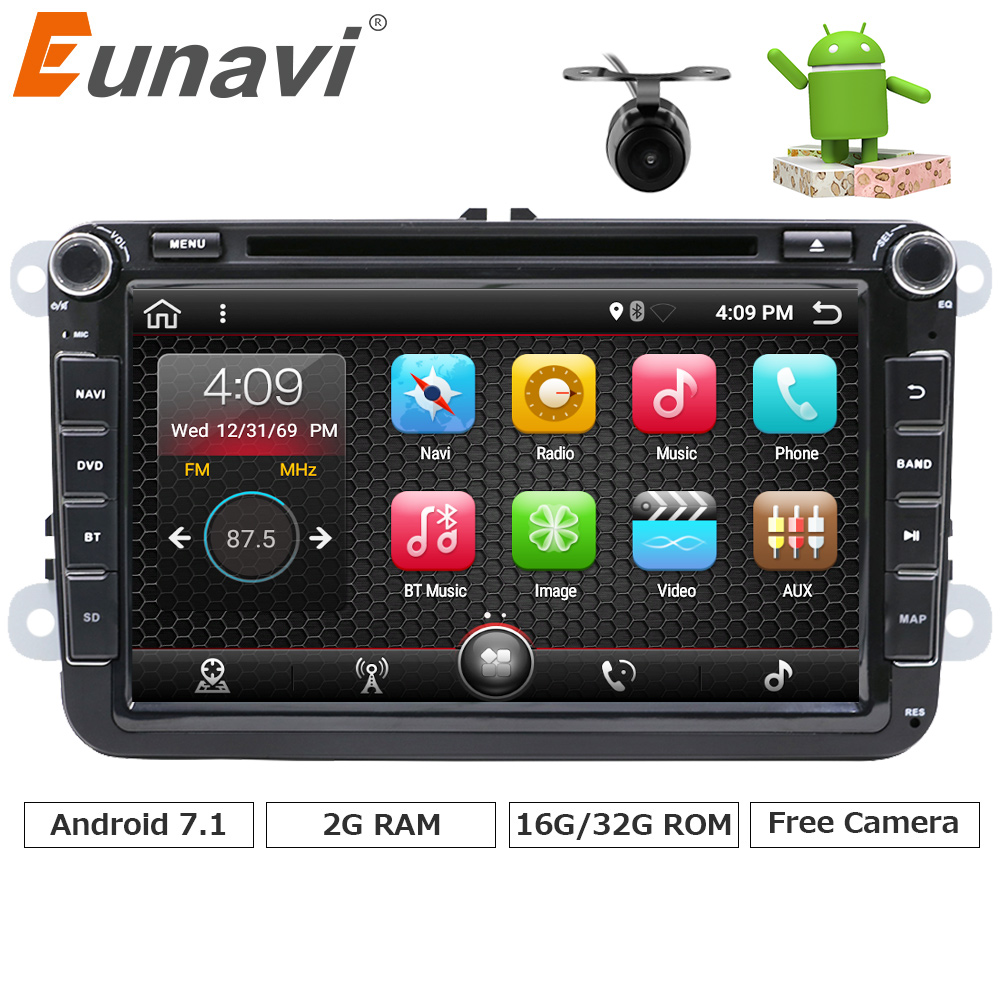 Eunavi 2G RAM 2 Din Android 7.1 vw car dvd for Polo Jetta Tiguan VW passat b6 cc fabia mirror link bluetooth wifi Radio in dash