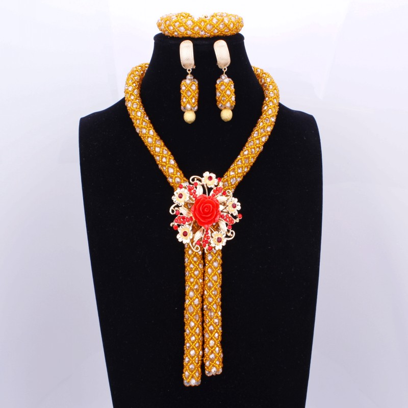 купить 100% Handmade Red Flower Embellished Orange African Beads Fashion Jewelry For Women Sexy Necklace And Earring Set 2017 недорого