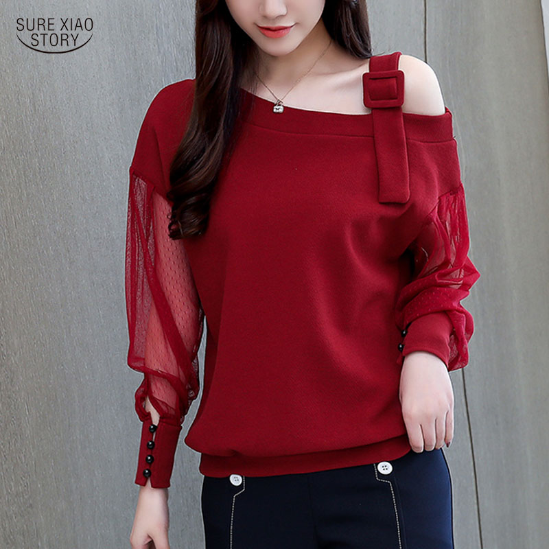New Autumn Long Sleeve Shirt Clothing Female Fashion Woman Blouses Solid Women Blouse 2019 Sexy Off Shoulder Top 1224 40