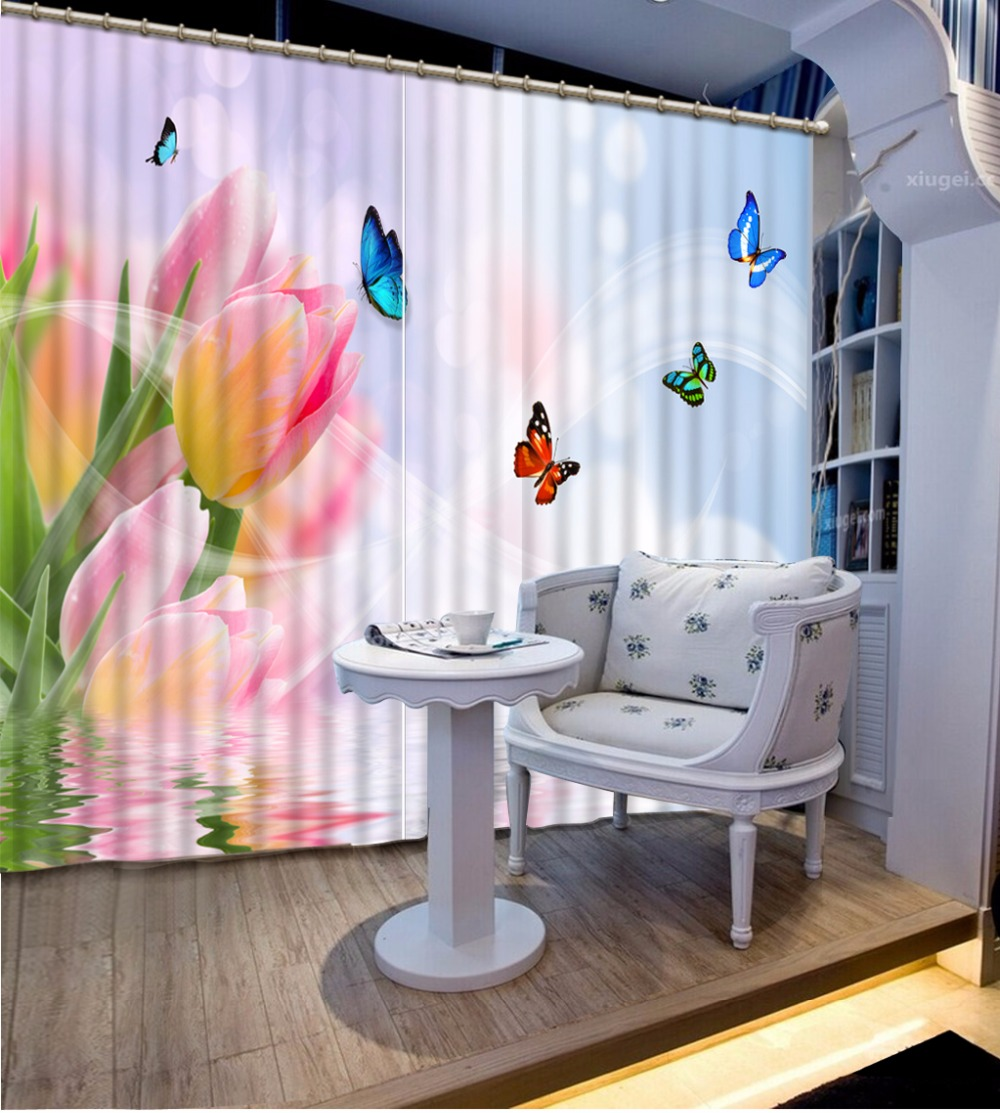3D Curtain Fashion Customized Classic Home Decor 3D Curtain Tulip Color Butterfly Bed Room Living Room Office Hotel Cortinas 3D Curtain Fashion Customized Classic Home Decor 3D Curtain Tulip Color Butterfly Bed Room Living Room Office Hotel Cortinas