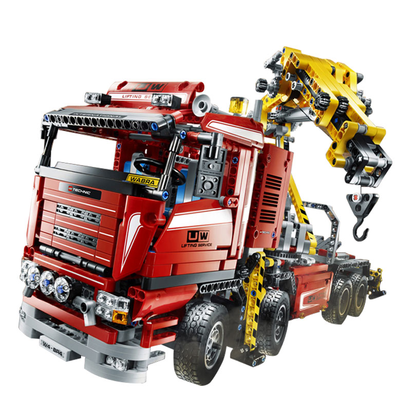1877PCS LEPINE Technician series Electric truck crane  Brick Toys vehicle motor power function MOC building block gift for boy lepine model
