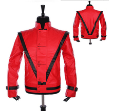 Custom made Hot Sale Jackson costumes Thriller leather jacket MJ outerwear clothing Nightclubs performance Costumes leather coat