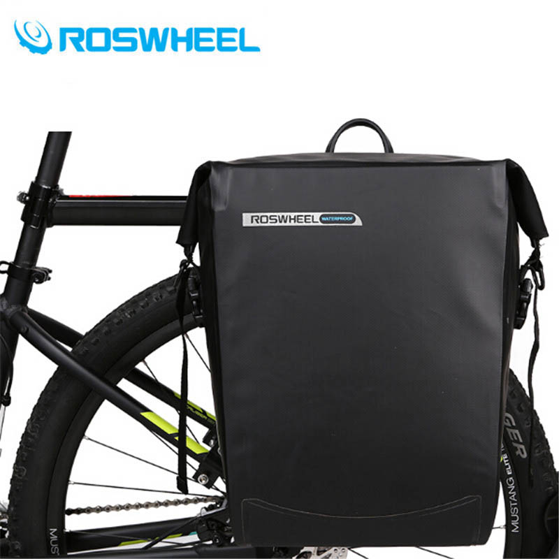 все цены на ROSWHEEL 20L Bike Bag Waterproof Cycling Bicycle Rear Rack Bag Tail Seat Trunk Bags Pannier Big Basket Case MTB Bike Accessories онлайн
