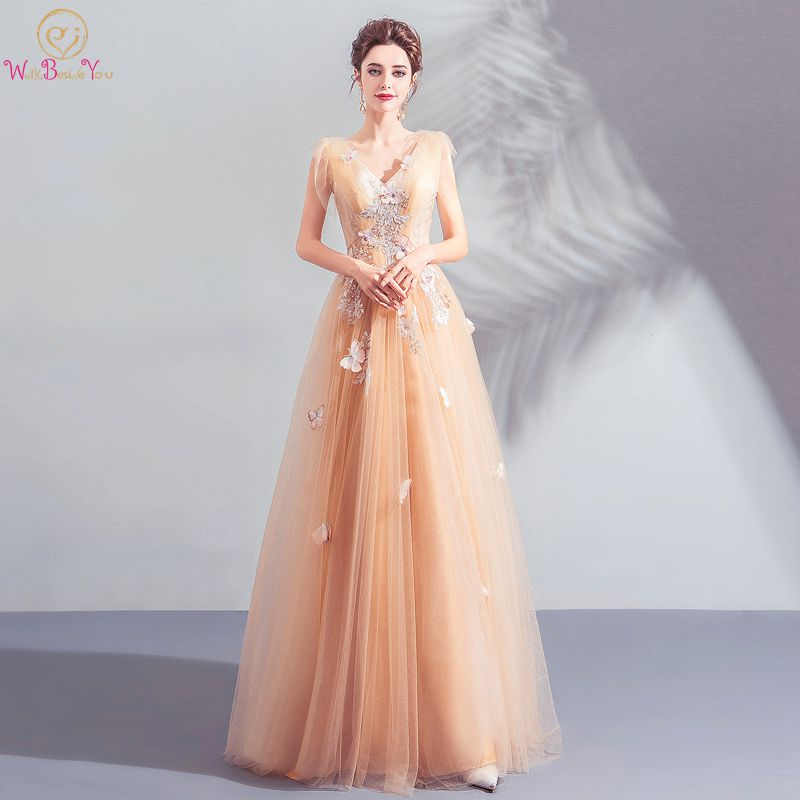 Walk Beside You Gold   Prom     Dresses   2019 Tulle Lace Appliques Butterfly Beading Long Sleeveless Evening Gown Vestido Festa Gala