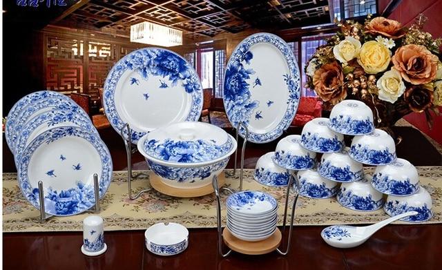 blau und wei porzellan glasur 56 satz bone china geschirr set sch ssel platte keramik in blau. Black Bedroom Furniture Sets. Home Design Ideas