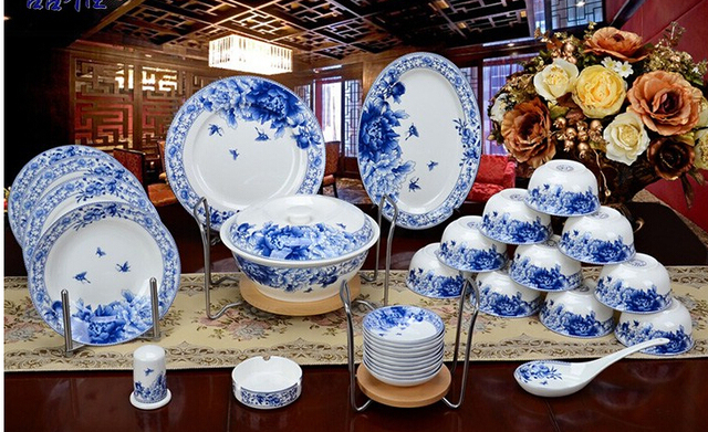 Blue and white porcelain glaze 56 pieces a set bone china dinnerware set bowl plate ceramics & Blue and white porcelain glaze 56 pieces a set bone china dinnerware ...