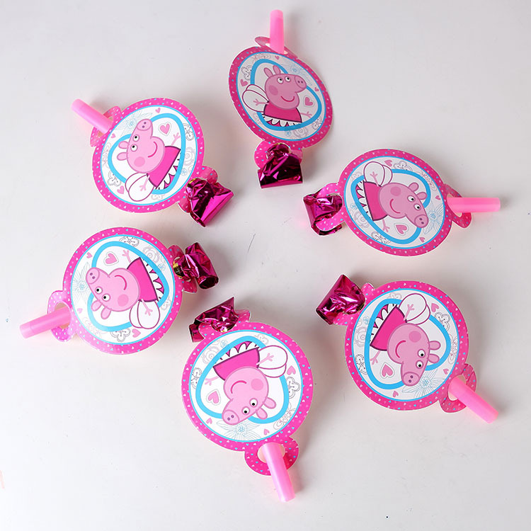 6pcs 14cm Cute Pink Pig Blowout Party Noise Maker Cartoon Theme Boy Birthday Party supplies Cartoon Decoration Horn ...