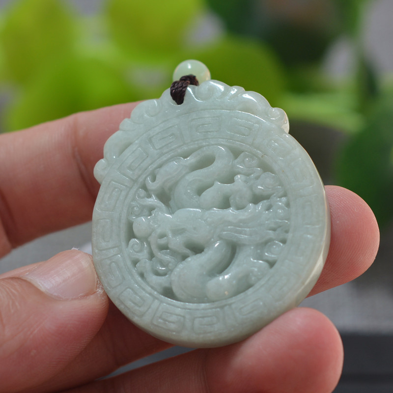 (Certificate)Natural Jadeite A Grade Pendant Necklace Carved Chinese Dragon Pendant Gift For Men Jade Stone Jewelry With Rope