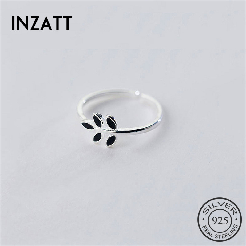 INZATT Cute Tiny Green Leaf Women Real 925 Sterling Silver Ring Luxury Brand Prevent Allergy Women Fine Jewelry Birthday Gift