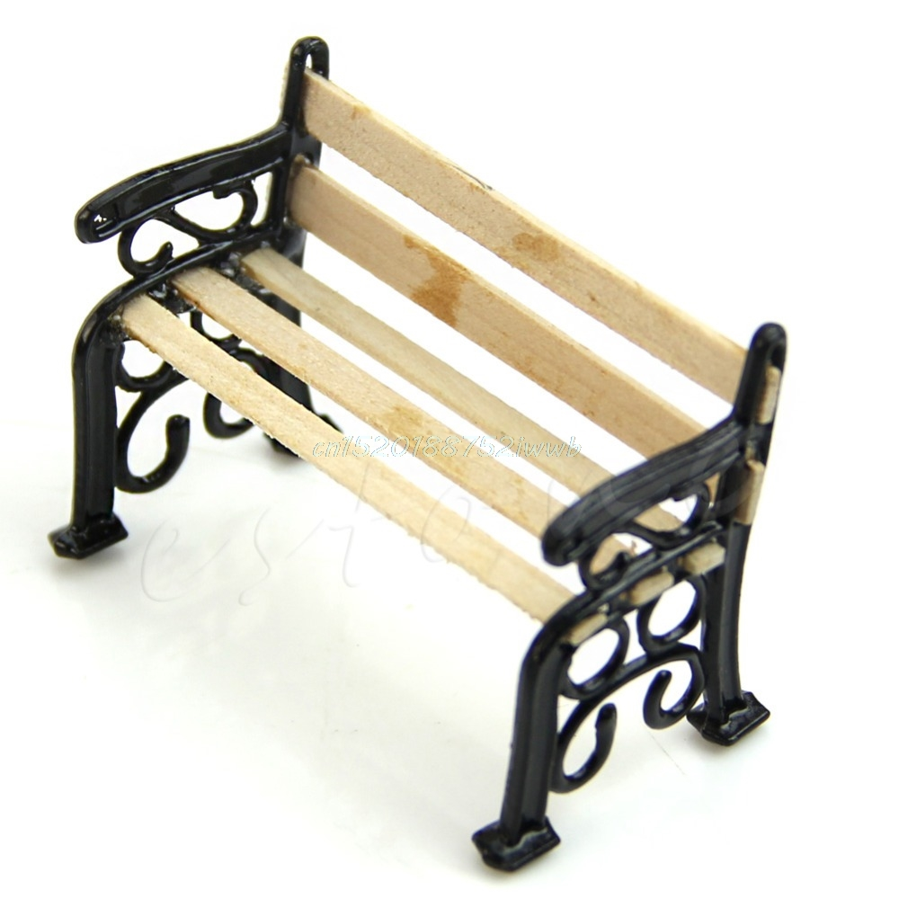 1:12 Wooden Bench Metal Dolls House Miniature Garden Furniture Accessories New