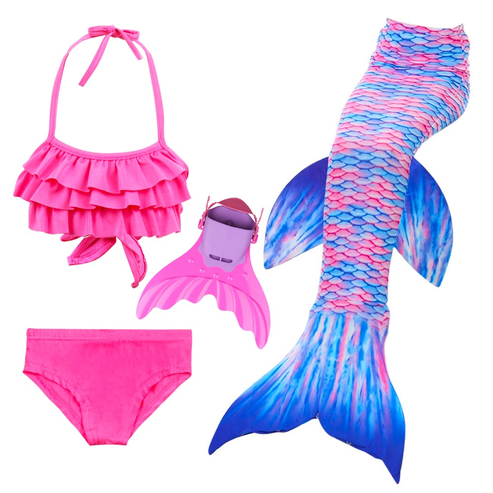 Little Children Mermaid Tails for Swimming Costume Mermaid Swimsuit Cosplay Girls Kids Swimmable Easy Add into Monofin