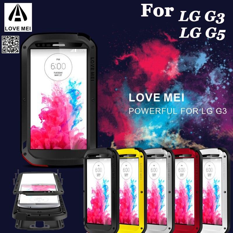 LOVE MEI extrême métal aluminium saleté étanche puissant étui pour LG G3 G5 G6 V10 V20 V30/LG G7/LG classe/H740 + Gorilla Glass