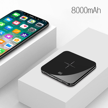 LCD Mirror Screen Mini Power Bank 8000mAh Fast Charge For iPhone Samsung Xiaomi Wireless Charger Powerbank External Battery Pack
