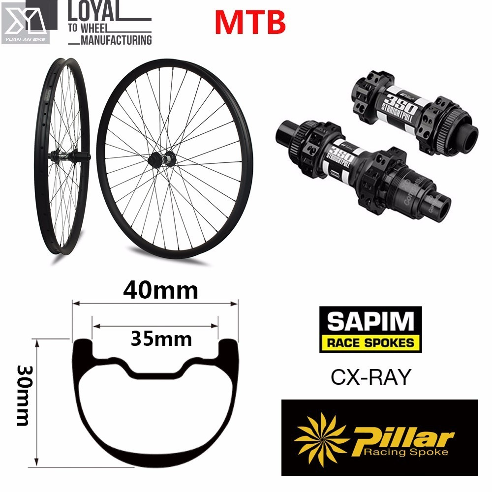 Carbon wheels AM/XC Mountain Bike MTB Wheelset 29er 40mm 30mm depth Width with MTB DT swiss 350 hub oem mtb wheelset 29er mtb wheelset mountain bike 27mm width carbon wheel hookless mtb wheels with novatec hub