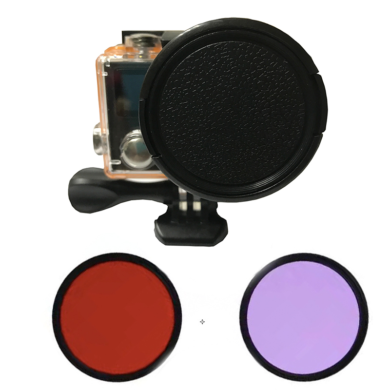Tekcam para Eken accesorio H9r 52mm Filtro de buceo rojo para agua azul y verde para Eken V8S H9 h9r h9se H8 h8r h8pro h8se H3 h3r