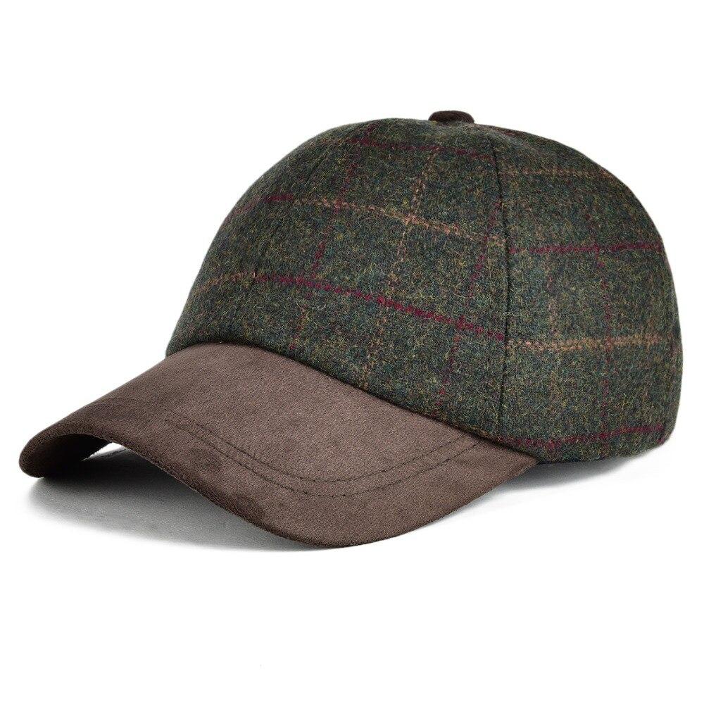VOBOOM Wool Tweed Green   Baseball     Cap   Men Bone Casquette Hats Herringbone Spring Autumn Winter Adjustable Large Plaid Hat 170