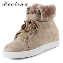 Meotina Winter Snow Boots Women Boots Lace Up Height Increasing Ankle Boots Warm Plush Round Toe Short Shoes Female Plus Size 43 plus size 34 43 fashion women boots with warm plush shoes spring autumn winter lace up punk flats round toe ankle martin boots